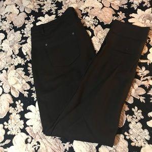 Dark brown ponte knit jeans.